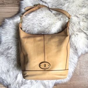 Fossil Vintage Reissue large tan leather hobo bag
